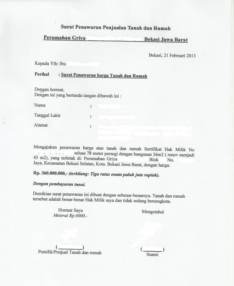 Contoh surat penawaran rumah dan tanah