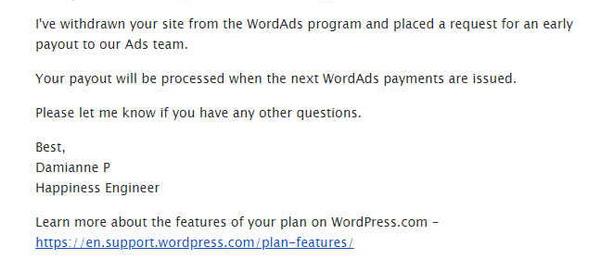 Email Menutup Akun WordAds
