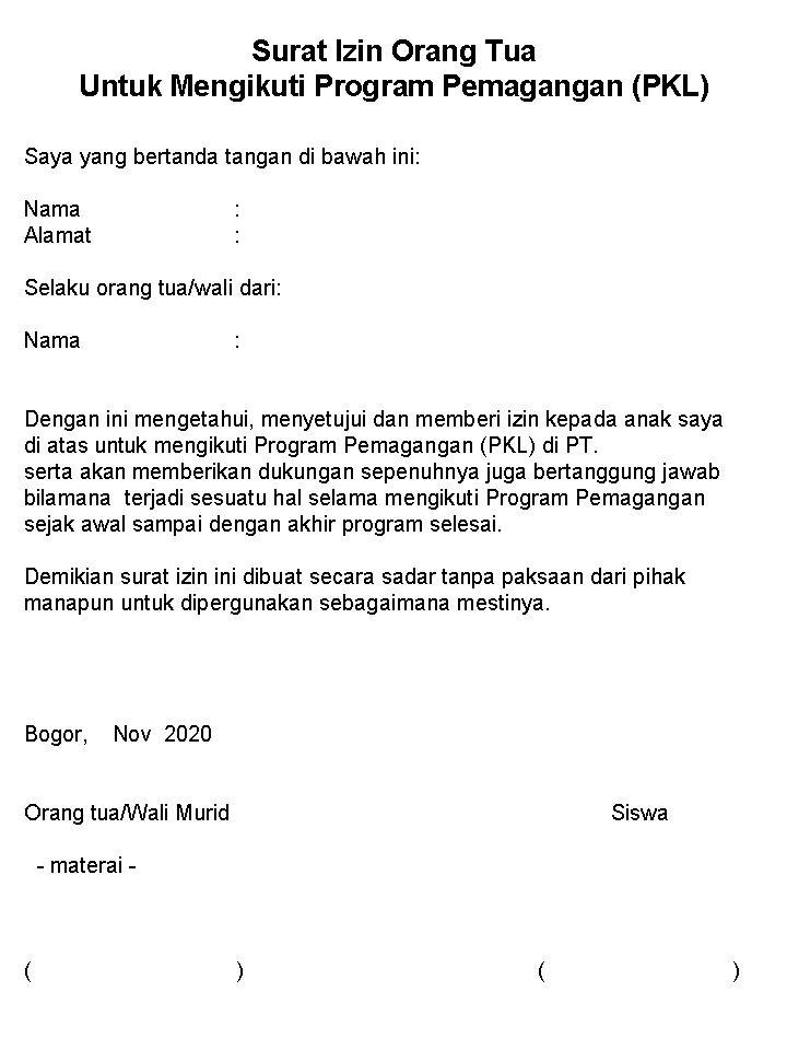 surat izin orangtua ikut pkl anak SMK