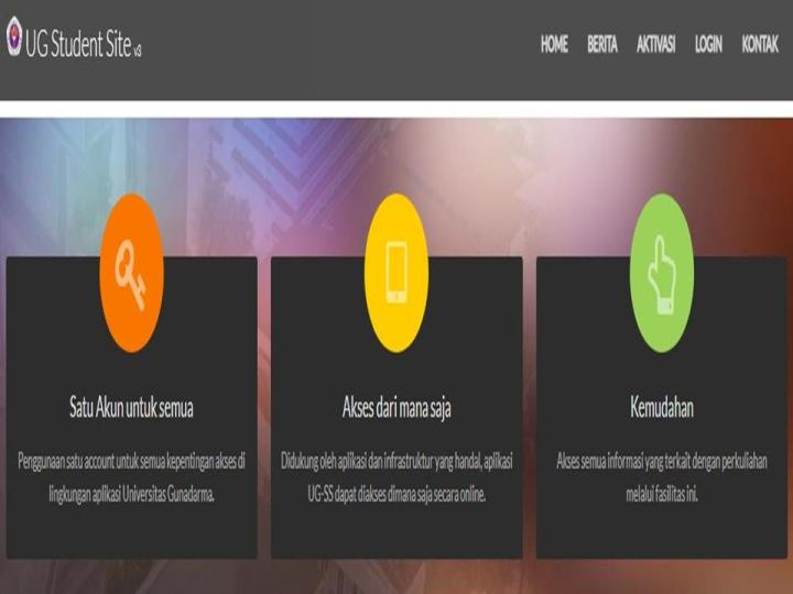 Student site Gunadarma tampilan aplikasi